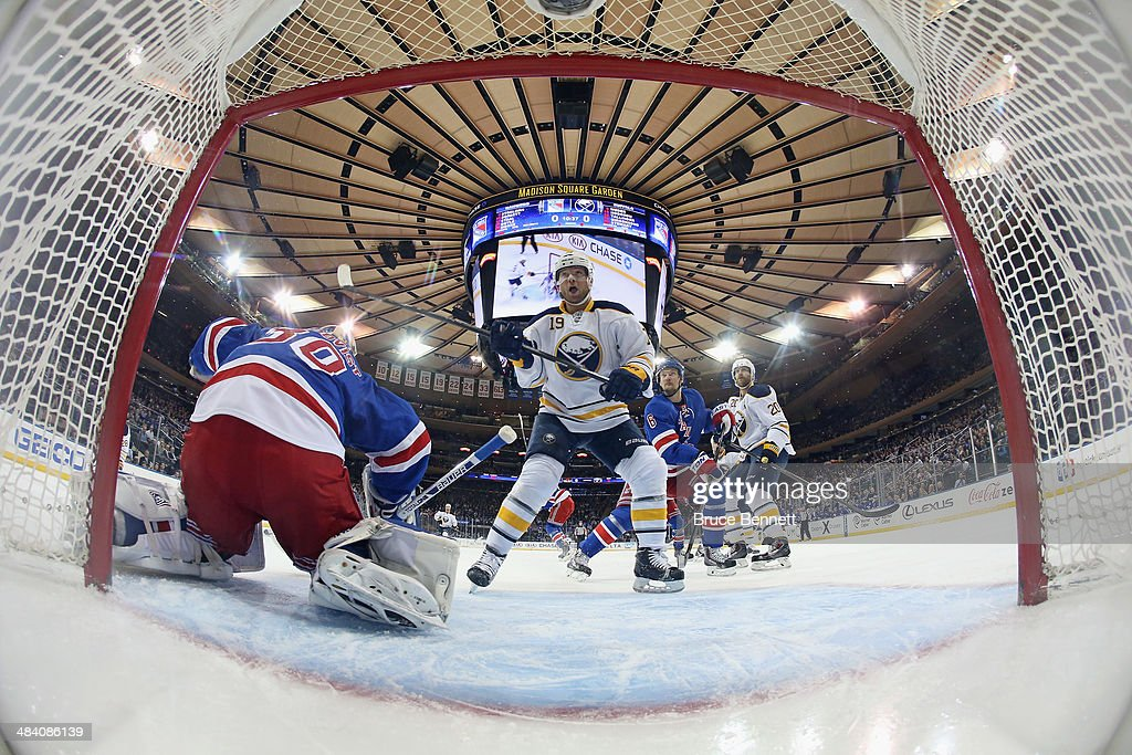 <a gi-track='captionPersonalityLinkClicked' href=/galleries/search?phrase=Cody+Hodgson&family=editorial&specificpeople=4151192 ng-click='$event.stopPropagation()'>Cody Hodgson</a> #19 of the Buffalo Sabres attacks the net against the New York Rangers at Madison Square Garden on April 10, 2014 in New York City. The Rangers defeated the Sabres 2-1.