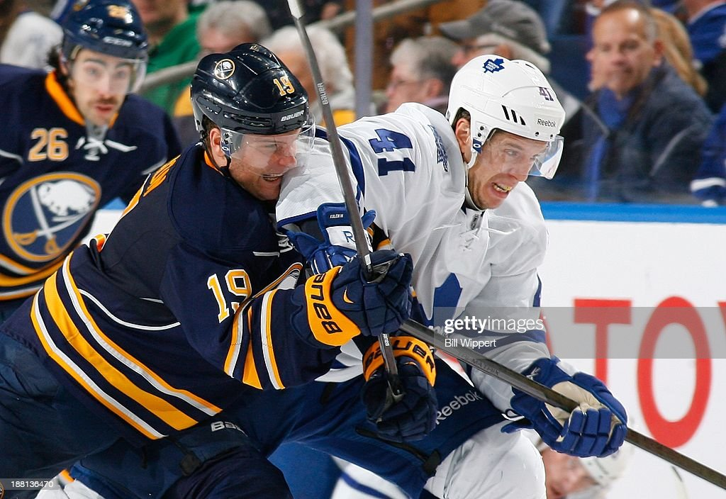 <a gi-track='captionPersonalityLinkClicked' href=/galleries/search?phrase=Cody+Hodgson&family=editorial&specificpeople=4151192 ng-click='$event.stopPropagation()'>Cody Hodgson</a> #41 of the Buffalo Sabres battles for the puck against <a gi-track='captionPersonalityLinkClicked' href=/galleries/search?phrase=Nikolai+Kulemin&family=editorial&specificpeople=537949 ng-click='$event.stopPropagation()'>Nikolai Kulemin</a> #41 of the Toronto Maple Leafs on November 15, 2013 at the First Niagara Center in Buffalo, New York. Buffalo won, 3-1.