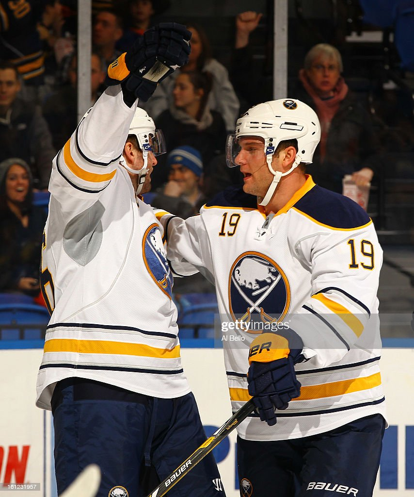 Cody Hodgson #19 of the Buffalo Sabres celebrates after scoring a goal against the New York Islanders during their game at Nassau Veterans Memorial Coliseum on February 9, 2013 in Uniondale, New York.