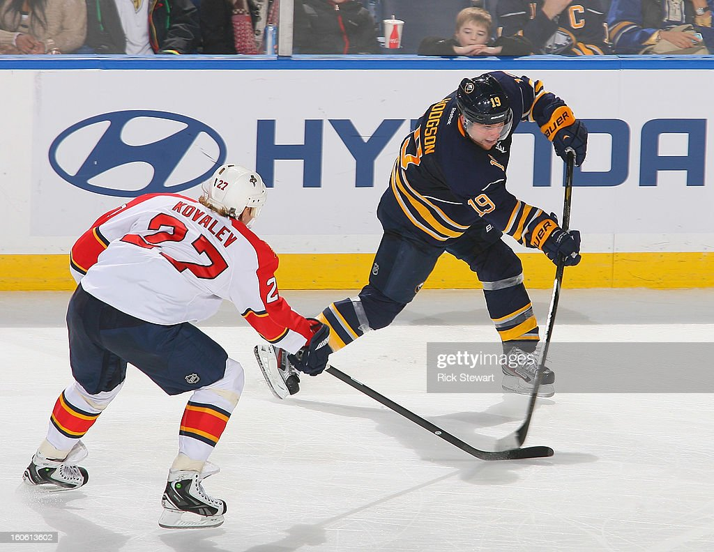 <a gi-track='captionPersonalityLinkClicked' href=/galleries/search?phrase=Cody+Hodgson&family=editorial&specificpeople=4151192 ng-click='$event.stopPropagation()'>Cody Hodgson</a> #19 of the Buffalo Sabres gets off a shot against Alex Kovalev #27 of the Florida Panthers at First Niagara Center on February 3, 2013 in Buffalo, New York. Florida won 4-3.