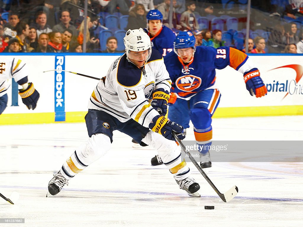 Cody Hodgson #19 of the Buffalo Sabres handles the puck against the New York Islanders during their game at Nassau Veterans Memorial Coliseum on February 9, 2013 in Uniondale, New York.
