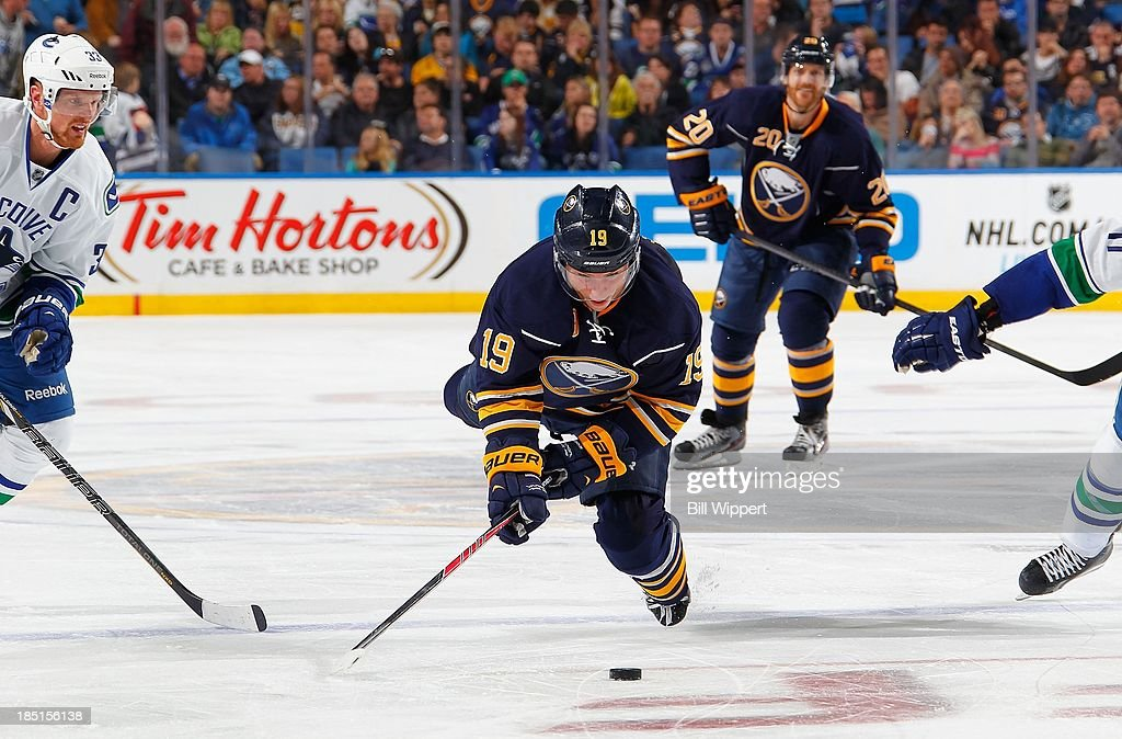 <a gi-track='captionPersonalityLinkClicked' href=/galleries/search?phrase=Cody+Hodgson&family=editorial&specificpeople=4151192 ng-click='$event.stopPropagation()'>Cody Hodgson</a> #19 of the Buffalo Sabres is upended by <a gi-track='captionPersonalityLinkClicked' href=/galleries/search?phrase=Henrik+Sedin&family=editorial&specificpeople=202574 ng-click='$event.stopPropagation()'>Henrik Sedin</a> #33 of the Vancouver Canucks on October 17, 2013 at the First Niagara Center in Buffalo, New York. Sedin received a tripping penalty on the play.