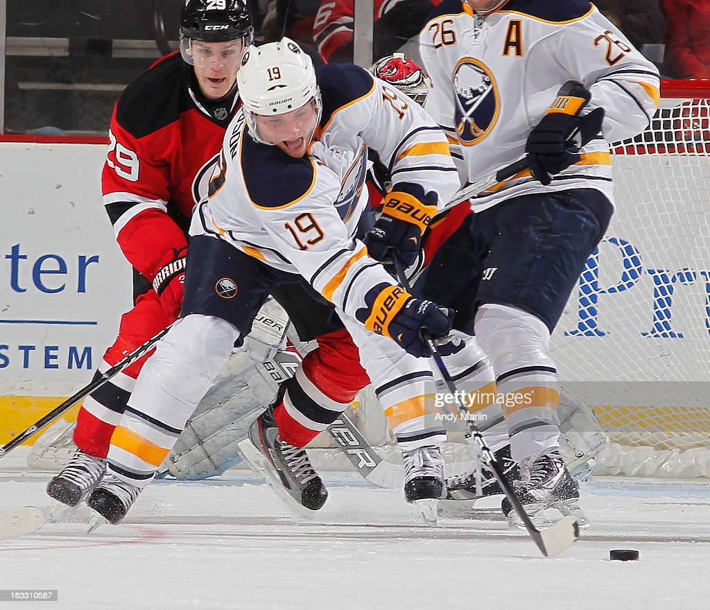 <a gi-track='captionPersonalityLinkClicked' href=/galleries/search?phrase=Cody+Hodgson&family=editorial&specificpeople=4151192 ng-click='$event.stopPropagation()'>Cody Hodgson</a> #19 of the Buffalo Sabres plays the puck against the New Jersey Devils during the game at the Prudential Center on March 7, 2013 in Newark, New Jersey.