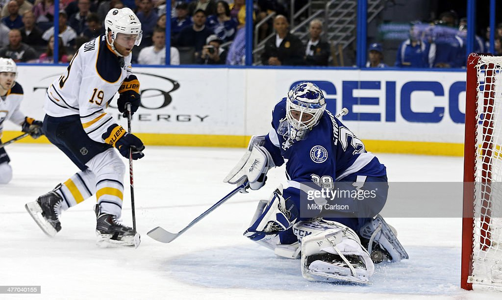 <a gi-track='captionPersonalityLinkClicked' href=/galleries/search?phrase=Cody+Hodgson&family=editorial&specificpeople=4151192 ng-click='$event.stopPropagation()'>Cody Hodgson</a> #19 of the Buffalo Sabres puts the puck through the legs of goalie <a gi-track='captionPersonalityLinkClicked' href=/galleries/search?phrase=Anders+Lindback&family=editorial&specificpeople=7211274 ng-click='$event.stopPropagation()'>Anders Lindback</a> #39 of the Tampa Bay Lightning at the Tampa Bay Times Forum on March 6, 2014 in Tampa, Florida.