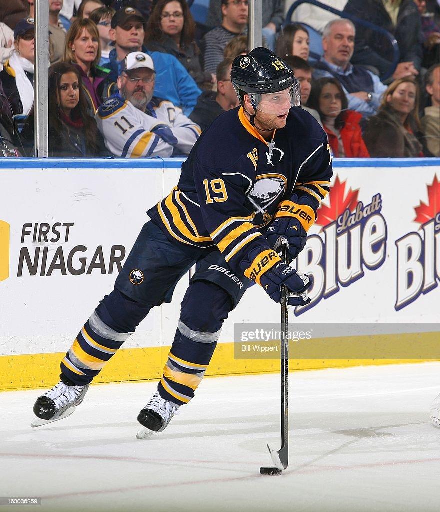 Cody Hodgson #19 of the Buffalo Sabres skates against the New York Islanders on February 23, 2013 at the First Niagara Center in Buffalo, New York.