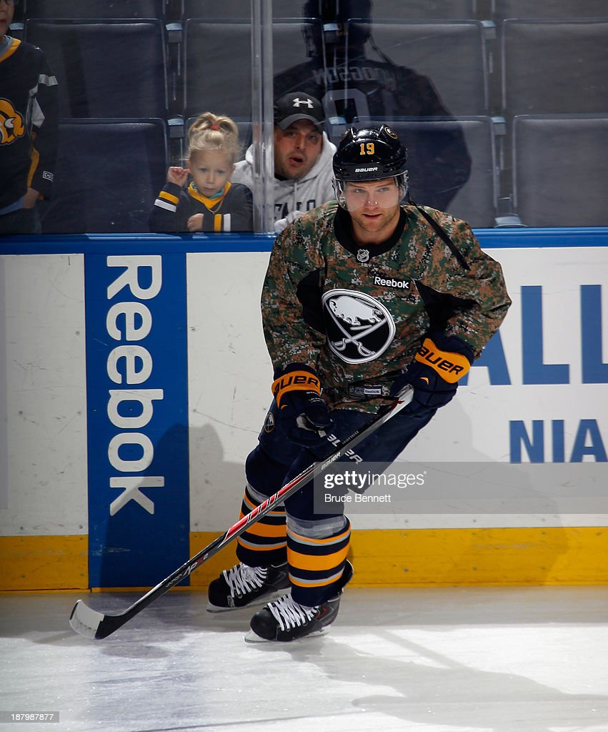 Cody Hodgson #19 of the Buffalo Sabres skates in warm-ups prior to the game against the Los Angeles Kings at the First Niagara Center on November 12, 2013 in Buffalo, New York.
