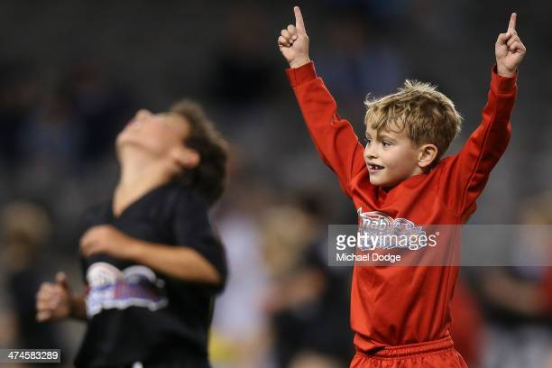 Cody Jay Walker son of Andrew Walker of the Blues celebrates a goal in the half time break of the round three AFL NAB Challenge match between the...