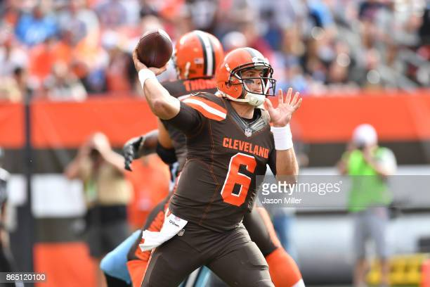 Cody Kessler of the Cleveland Browns passes in the third quarter against the Tennessee Titans at FirstEnergy Stadium on October 22 2017 in Cleveland...