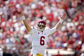 Cody Kessler of the USC Trojans celebrates after they scored a touchdown against the Stanford Cardinal at Stanford Stadium on September 6 2014 in...