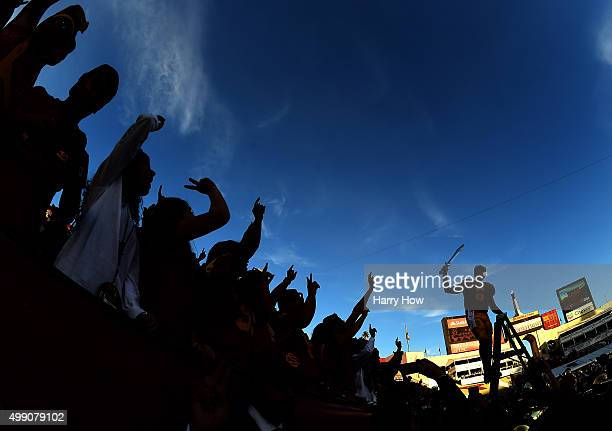 Cody Kessler of the USC Trojans celerates a 4021 win over the UCLA Bruins with fans at Los Angeles Memorial Coliseum on November 28 2015 in Los...