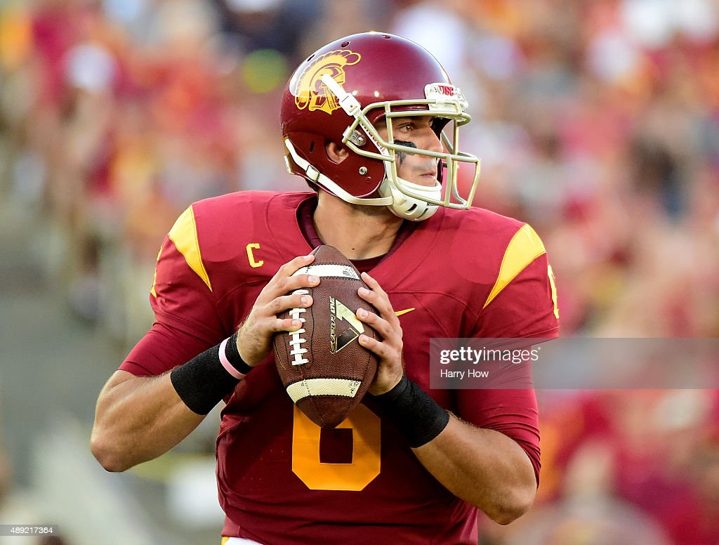 <a gi-track='captionPersonalityLinkClicked' href=/galleries/search?phrase=Cody+Kessler&family=editorial&specificpeople=9870723 ng-click='$event.stopPropagation()'>Cody Kessler</a> #6 of the USC Trojans looks to pass during the second quarter against the Stanford Cardinal at Los Angeles Coliseum on September 19, 2015 in Los Angeles, California.