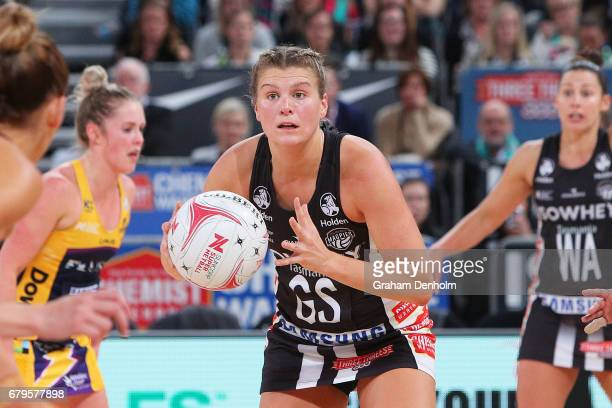 Cody Lange of the Magpies passes during the round 11 Super Netball match between the Magpies and the Lightning at Hisense Arena on May 6 2017 in...