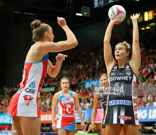 Cody Lange of the Magpies shoots for goal during the round six Super Netball match between the Swifts and the Magpies at Sydney Olympic Park Sports...