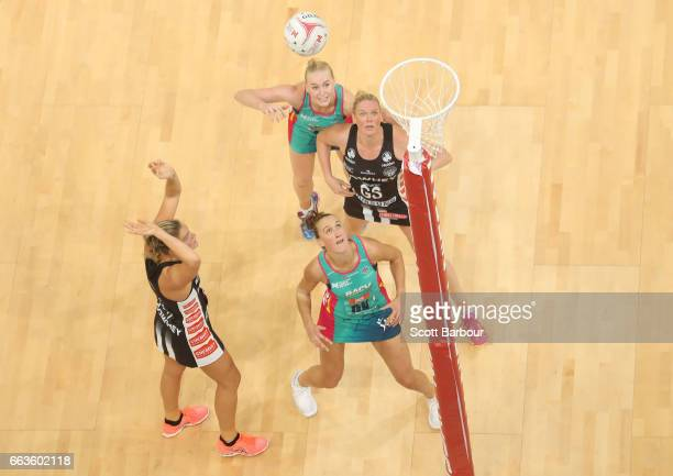 Cody Lange of the Magpies shoots the ball during the round seven Super Netball match between the Magpies and the Vixens at Hisense Arena on April 2...