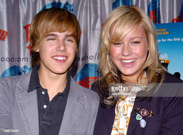 Cody Linley and Brie Larson during Brie Larson and Cody Linley of 'HOOT' Appear at Planet Hollywood April 21 2006 at Planet Hollywood Times Square in...