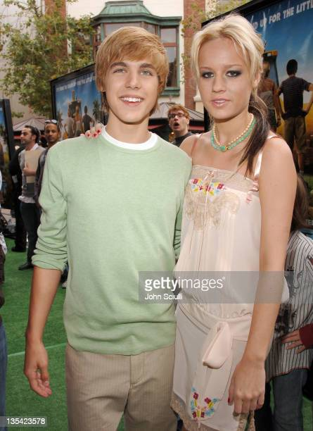 Cody Linley and Brie Larson during 'Hoot' Los Angeles Premiere Red Carpet at The Grove in Los Angeles California United States