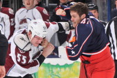 Cody McLeod of the Colorado Avalanche and Dalton Prout of the Columbus Blue Jackets fight in the second period on March 3 2013 at Nationwide Arena in...