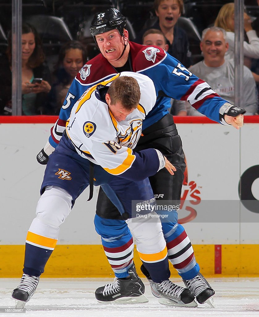 <a gi-track='captionPersonalityLinkClicked' href=/galleries/search?phrase=Cody+McLeod&family=editorial&specificpeople=2242985 ng-click='$event.stopPropagation()'>Cody McLeod</a> #55 of the Colorado Avalanche and <a gi-track='captionPersonalityLinkClicked' href=/galleries/search?phrase=Richard+Clune&family=editorial&specificpeople=2122646 ng-click='$event.stopPropagation()'>Richard Clune</a> #16 of the Nashville Predators engage in a fight early in the first period at the Pepsi Center on March 30, 2013 in Denver, Colorado.