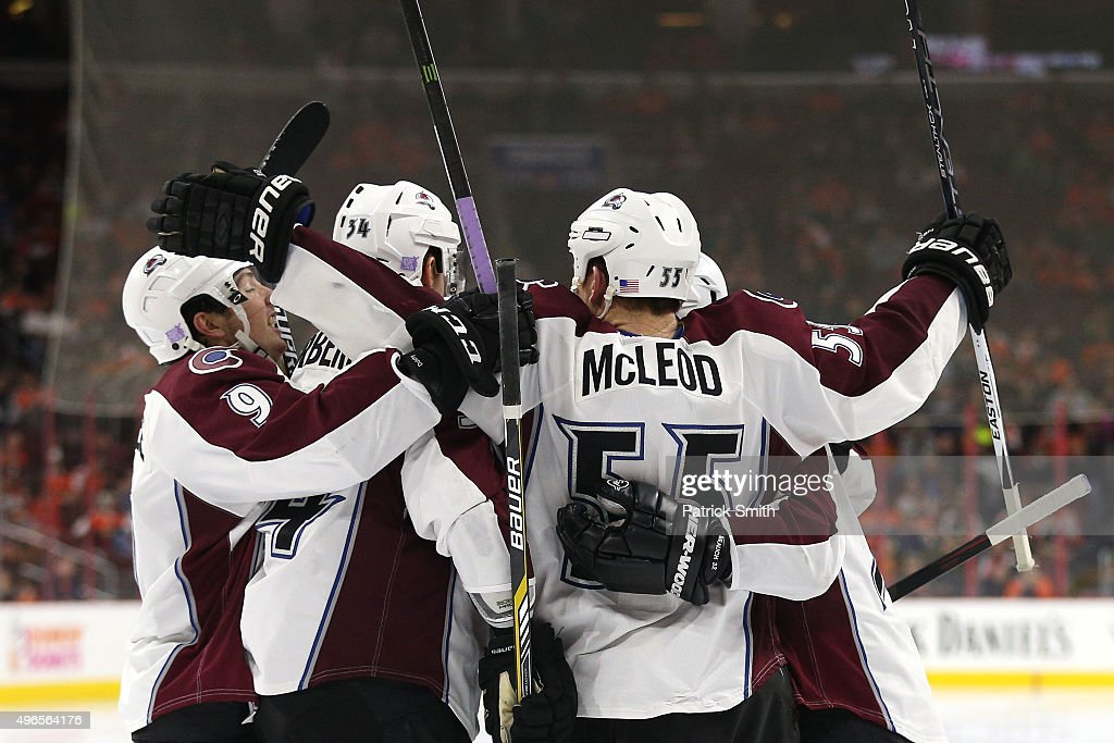 Cody McLeod of the Colorado Avalanche celebrates with teammates after scoring a goal against the Philadelphia Flyers in the third period at Wells...