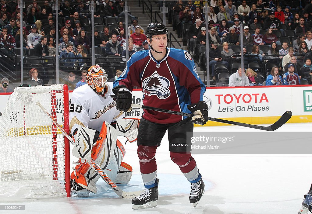 <a gi-track='captionPersonalityLinkClicked' href=/galleries/search?phrase=Cody+McLeod&family=editorial&specificpeople=2242985 ng-click='$event.stopPropagation()'>Cody McLeod</a> #55 of the Colorado Avalanche sets up in front of Goaltender Viktor Fasth #30 of the Anaheim Ducks at the Pepsi Center on February 6, 2013 in Denver, Colorado.