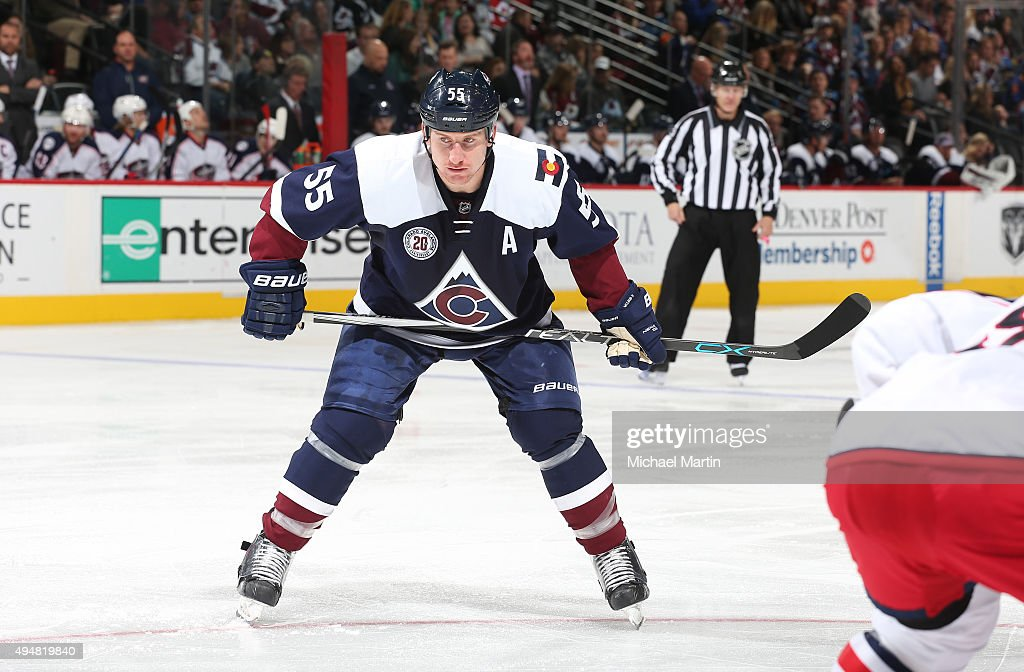 Cody McLeod of the Colorado Avalanche skates against the Columbus Blue Jackets at the Pepsi Center on October 24 2015 in Denver Colorado The Blue...