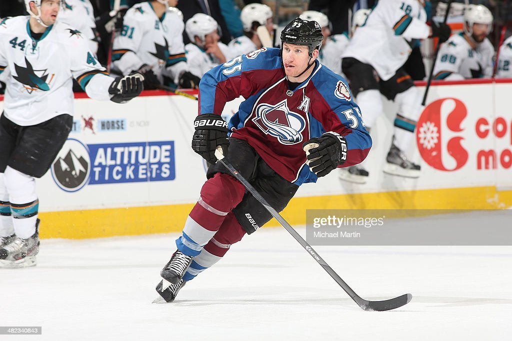 Cody McLeod of the Colorado Avalanche skates against the San Jose Sharks at the Pepsi Center on March 29 2014 in Denver Colorado The Avalanche...