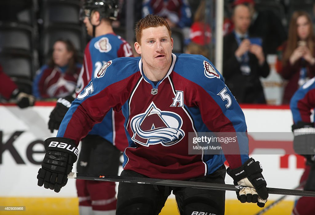 Cody McLeod of the Colorado Avalanche skates prior to the game against the Detroit Red Wings at the Pepsi Center on February 5 2015 in Denver Colorado