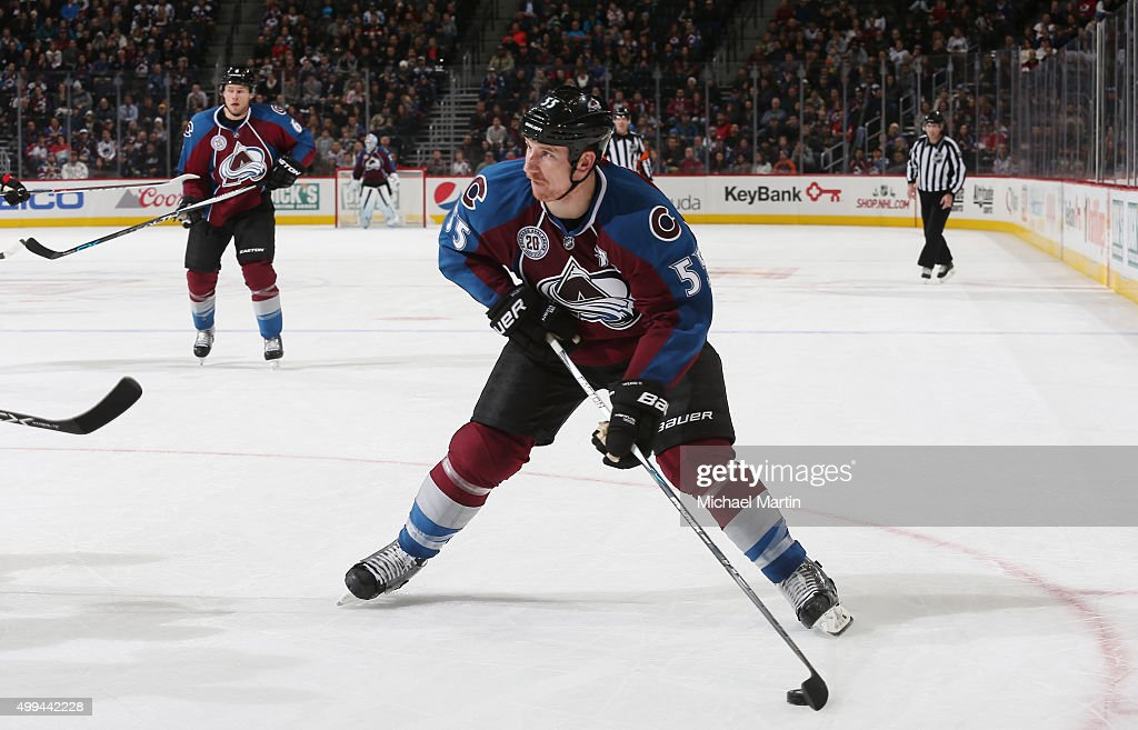 Cody McLeod of the Colorado Avalanche skates with the puck against the Ottawa Senators at the Pepsi Center on November 25 2015 in Denver Colorado