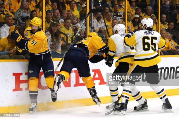 Cody McLeod of the Nashville Predators collides with Brian Dumoulin of the Pittsburgh Penguins during the second period in Game Six of the 2017 NHL...