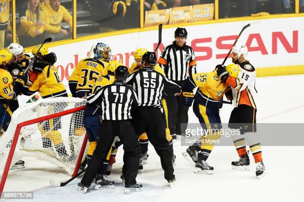 Cody McLeod of the Nashville Predators Ryan Getzlaf of the Anaheim Ducks and others tussle during the second period in Game Six of the Western...