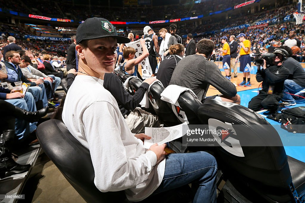 Cody Metz, in attendance through the Make-A-Wish Foundation, sits behind the Minnesota Timberwolves bench during a game against the Oklahoma City Thunder on January 9, 2013 at the Chesapeake Energy Arena in Oklahoma City, Oklahoma.