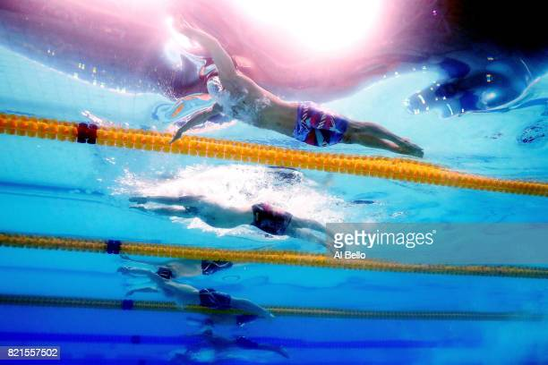 Cody Miller of the United States Adam Peaty of Great Britain and Kevin Cordes of the United States compete during the Men's 100m Breaststroke Final...