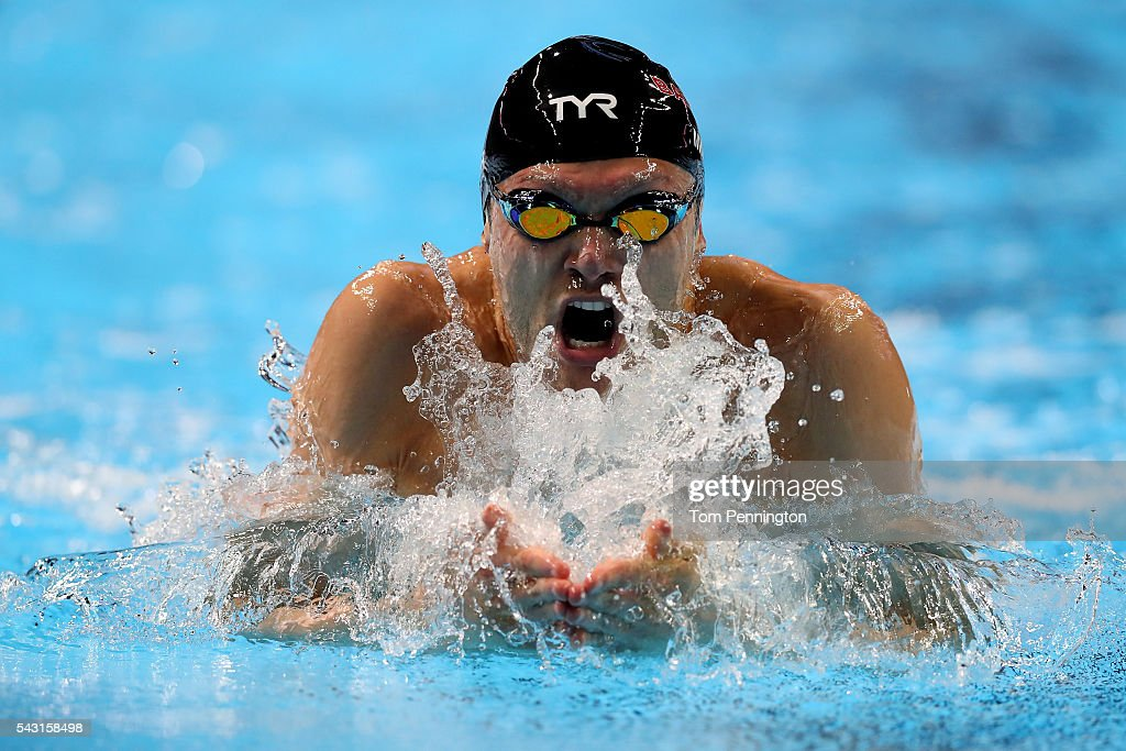 Cody Miller of the United States competes in a preliminary heat for the Men's 100 Meter Breaststroke during Day One of the 2016 U.S. Olympic Team Swimming Trials at CenturyLink Center on June 26, 2016 in Omaha, Nebraska.