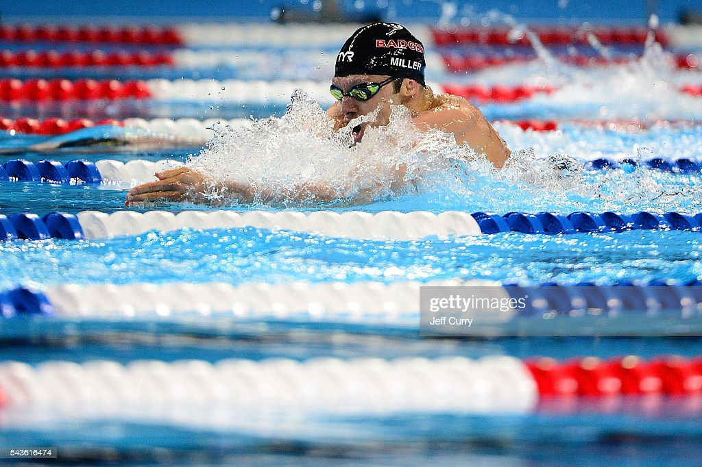 <a gi-track='captionPersonalityLinkClicked' href=/galleries/search?phrase=Cody+Miller+-+Swimmer&family=editorial&specificpeople=16083401 ng-click='$event.stopPropagation()'>Cody Miller</a> of the United States competes in a preliminary heat of the Men's 200 Meter Breaststroke during Day 4 of the 2016 U.S. Olympic Team Swimming Trials at CenturyLink Center on June 29, 2016 in Omaha, Nebraska.