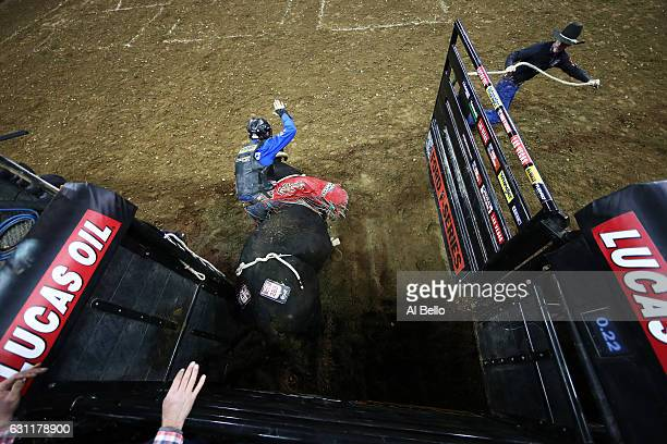 Cody Nance Rides Big Tex Walk off during the PBR Monster Energy Buck Off at Madison Square Garden on January 7 2017 in New York City