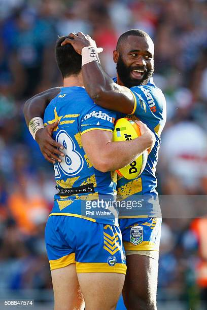 Cody Nelson of the Eels is congratulated on his try by Semi Radradra during the final match between the New Zealand Warriors and the Parramatta Eels...