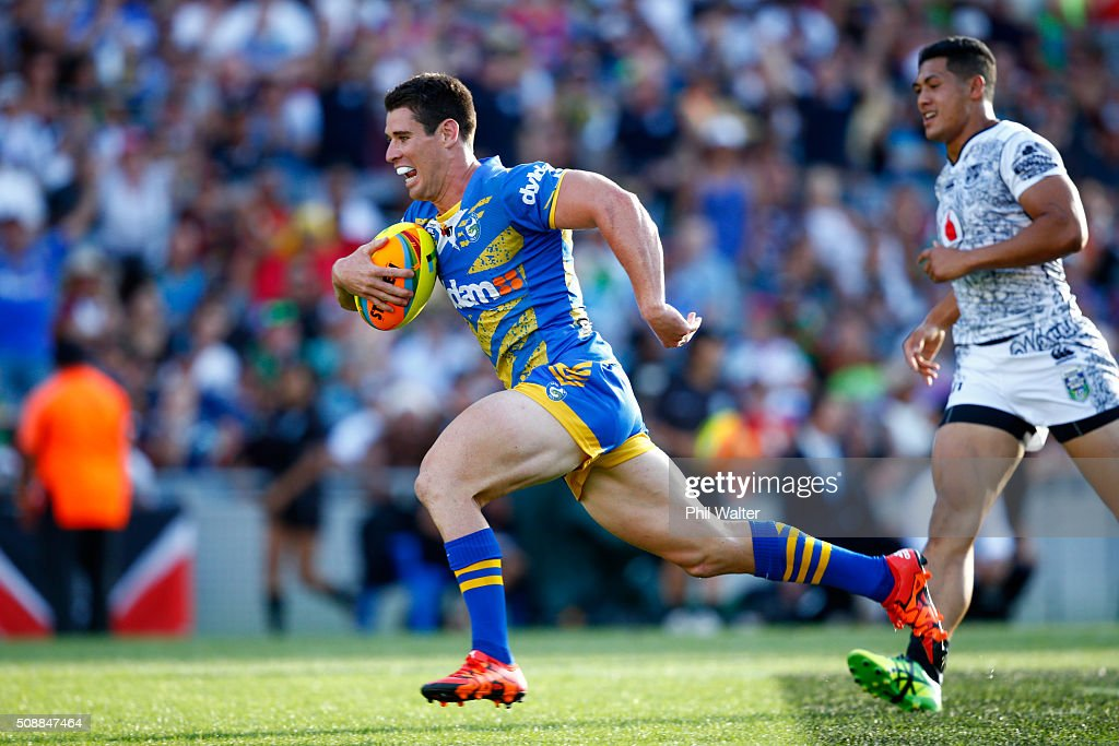 Cody Nelson of the Eels runs in a try during the final match between the New Zealand Warriors and the Parramatta Eels at the 2016 NRL Auckland Nines at Eden Park on February 7, 2016 in Auckland, New Zealand.
