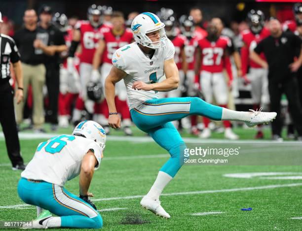 Cody Parkey of the Miami Dolphins kicks the goahead field goal against the Atlanta Falcons at MercedesBenz Stadium on October 15 2017 in Atlanta...