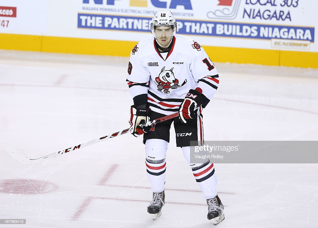 Cody Payne of the Niagara Ice Dogs skates during an OHL game between the Sudbury Wolves and the Niagara Ice Dogs at the Meridian Centre on October 18...