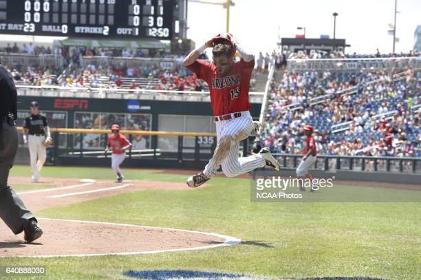Cody Ramer of the University of Arizona reacts to being called out at the plate against Coastal Carolina University during Game 3 of the Division I...