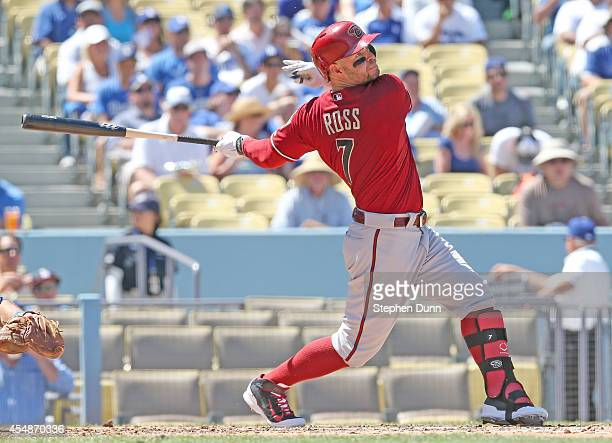 Cody Ross of the Arizona Diamondbacks hits an RBI single in the third inning against the Los Angeles Dodgers at Dodger Stadium on September 7 2014 in...