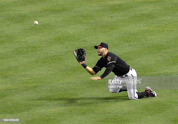 Cody Ross of the Arizona Diamondbacks makes a diving catch against the San Diego Padres at Chase Field on May 25 2013 in Phoenix Arizona