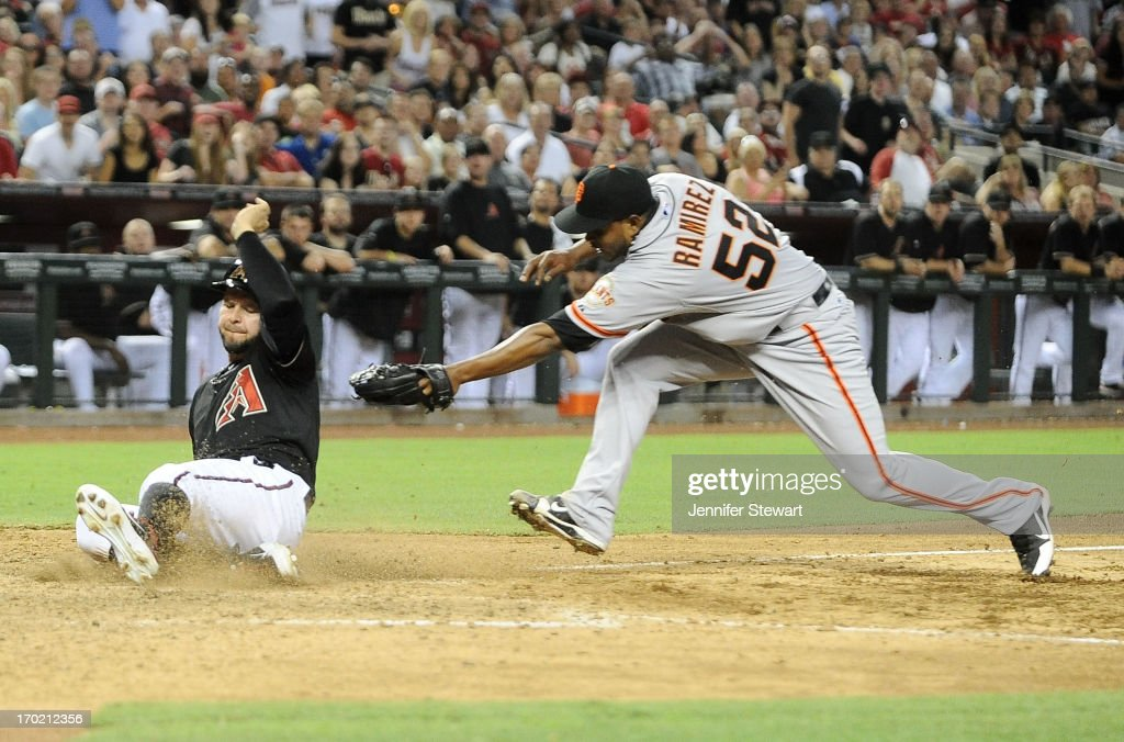 <a gi-track='captionPersonalityLinkClicked' href=/galleries/search?phrase=Cody+Ross&family=editorial&specificpeople=545810 ng-click='$event.stopPropagation()'>Cody Ross</a> #7 of the Arizona Diamondbacks successfully slides into home plate against pitcher Ramon Ramirez #52 of the San Francisco Giants in the sixth inning at Chase Field on June 8, 2013 in Phoenix, Arizona.