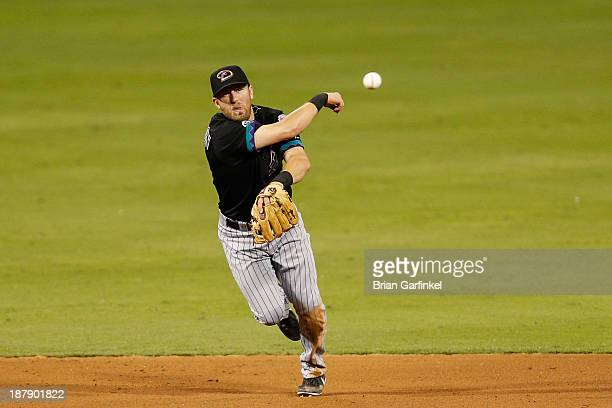 Cody Ross of the Arizona Diamondbacks throws the ball during the game against the Philadelphia Phillies at Citizens Bank Park on August 23 2013 in...