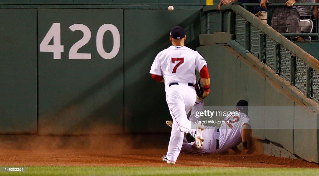 <a gi-track='captionPersonalityLinkClicked' href=/galleries/search?phrase=Cody+Ross&family=editorial&specificpeople=545810 ng-click='$event.stopPropagation()'>Cody Ross</a> #7 of the Boston Red Sox watches as his teammate <a gi-track='captionPersonalityLinkClicked' href=/galleries/search?phrase=Ryan+Sweeney+-+Baseball+Player&family=editorial&specificpeople=711121 ng-click='$event.stopPropagation()'>Ryan Sweeney</a> #12 crashes head first into the wall after diving for a fly ball in center field on a hit by Alex Rodriguez #13 of the New York Yankees during the game on July 8, 2012 at Fenway Park in Boston, Massachusetts.