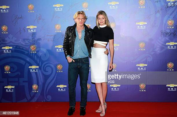 Cody Simpson and Gigi Hadid attend the 14th Huading Award Global Music Satisfaction Survey Release Ceremony on January 8 2015 in Shanghai China