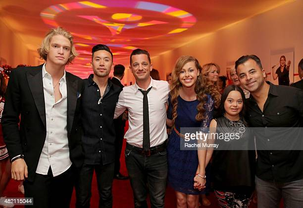 Cody Simpson Richard On and Marc Roberge of OAR Bree Bogucki Madison Tevlin and Benj Gershman of OAR attend 'CocaCola and ESPN Celebration Of The...