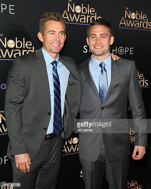 Cody Walker and brother Caleb Walker attend the 3rd Annual Noble Awards held at the Beverly Hilton Hotel on February 27 2015 in Beverly Hills...