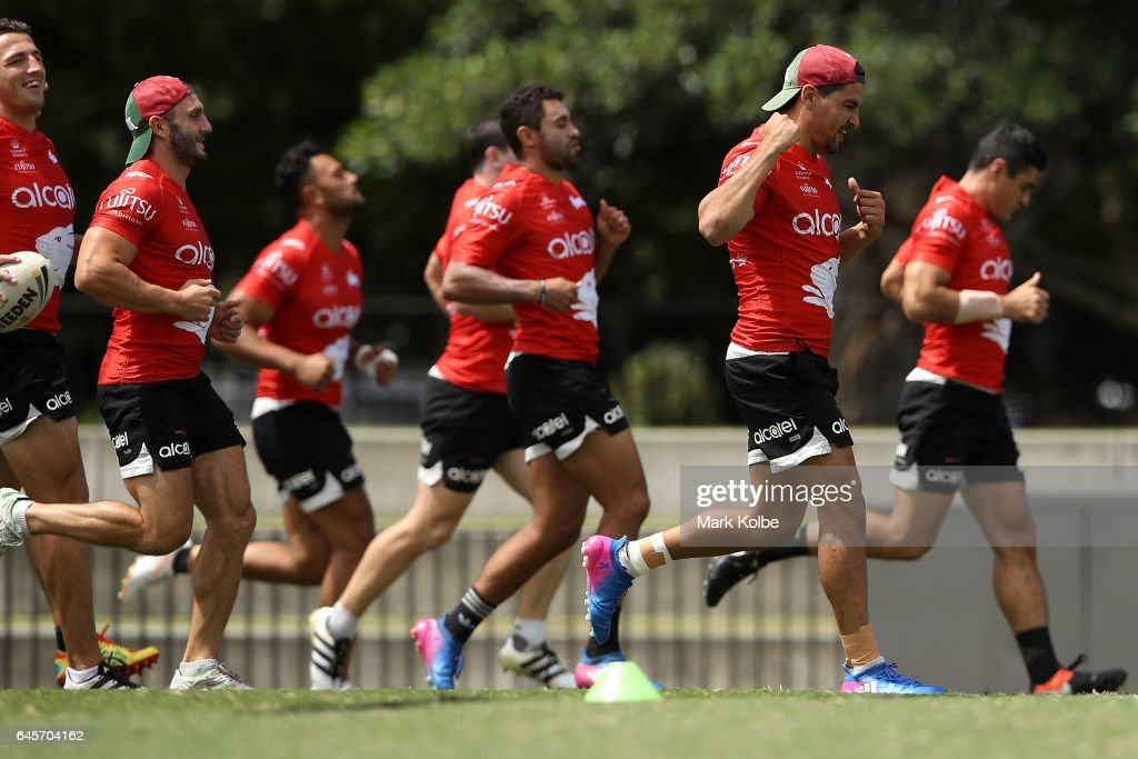Cody Walker celebrates as he races team mates during the South Sydney Rabbitohs NRL training session at Redfern Oval on February 27, 2017 in Sydney, Australia.