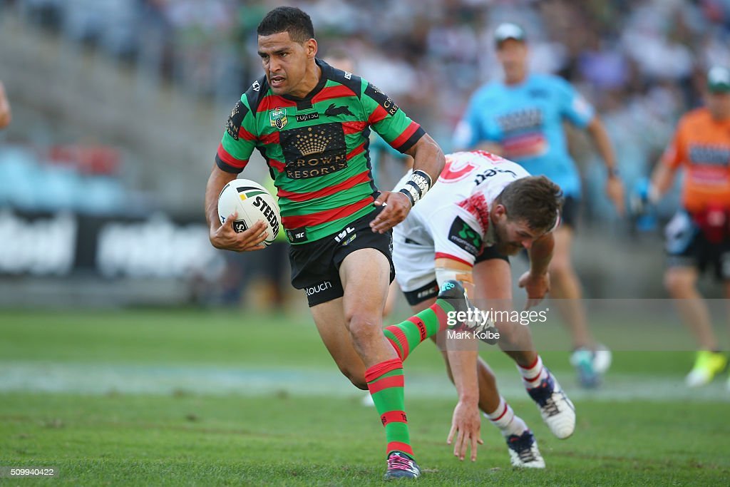Cody Walker of the Rabbitohs makes a break during the NRL Charity Shield match between the St George Illawarra Dragons and the South Sydney Rabbitohs at ANZ Stadium on February 13, 2016 in Sydney, Australia.